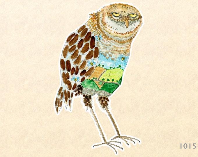 Owl Sticker Barn Owl Bird Sticker Owl Art Owl Painting Water Bottle Sticker Scrapbooking Sticker Macbook Decal