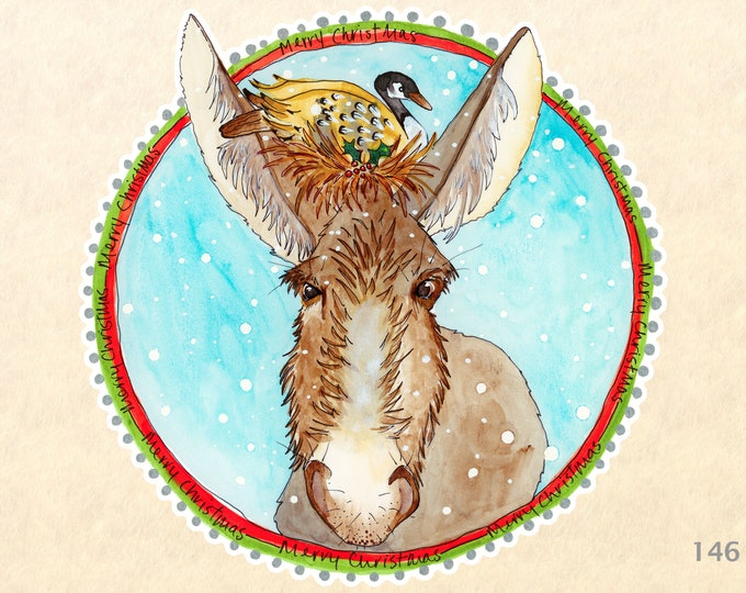 Christmas Donkey and Goose Sticker Gift Wrapping Sticker Laptop Stickers Water Bottle Stickers Scrapbook Stickers