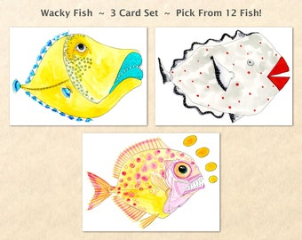 Wacky Fish 3 Card Set, Silly Fish Cards, Fun Fish Cards, Fun Animal Cards, Goofy Animal Cards, Sea Life Cards, Blank Note Cards, Art Cards