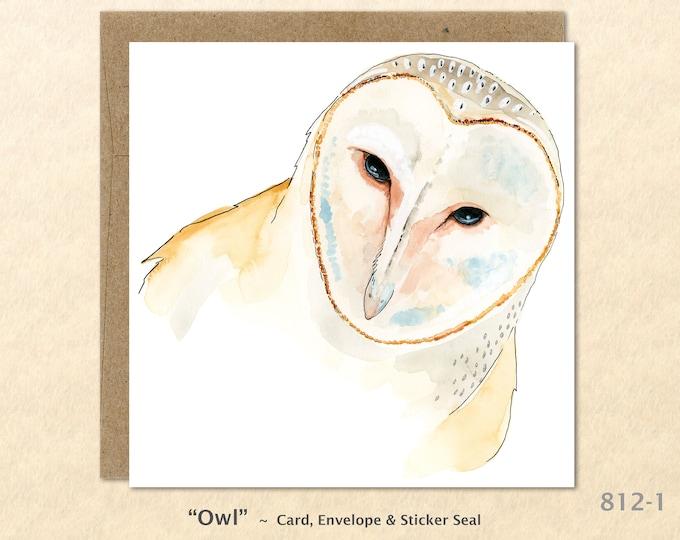 Owl Card Bird Card Wildlife Card Barn Owl Blank Note Card Art Card Greeting Card