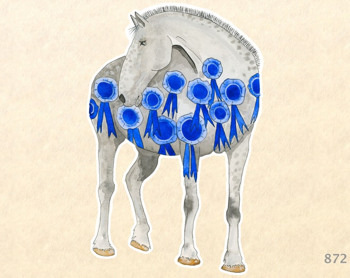 Blue Ribbon Horse Sticker Farm Animal Sticker Watercolor Art Sticker Water Bottle Sticker Scrapbooking Sticker