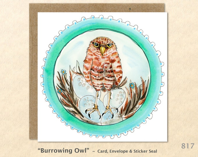 Burrowing Owl Card Bird Card Wildlife Card Nesting Owl Nesting Bird Owl Eggs Wild Bird Card Blank Note Card Art Card Greeting Card