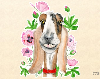 Goat and Pink Flowers Sticker Goofy Animal Sticker Flower Sticker Watercolor Art Sticker Scrapbook Sticker Phone Android Macbook Decal