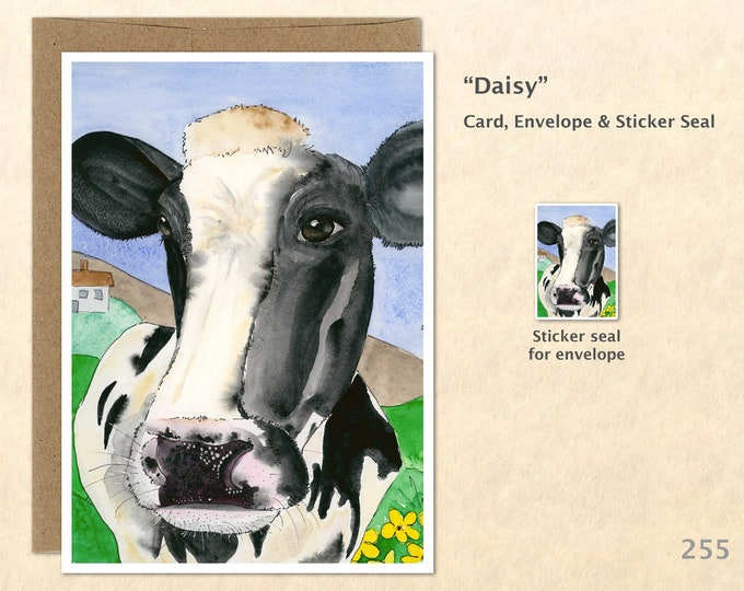 Cow Note Card Farm Animal Card Cow Card Cute Farm Animals Cute Cows Blank Note Card Art Card Greeting Card
