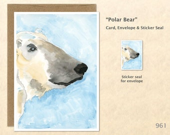 Polar Bear Note Card Customizable Blank Note Card Watercolor Wildlife Card Art Cards Greeting Cards