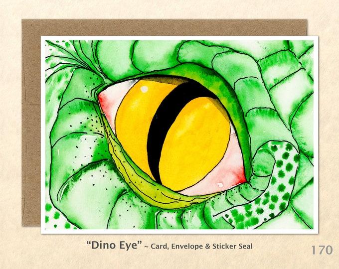 Dinosaur Eye Note Card, Dino Cards, Dinosaur Cards, Blank Note Card, Art Cards, Greeting Cards