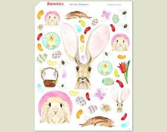 Bunnies Sticker Sheet, 48 Stickers, Easter Stickers, Rabbit Stickers, Bunny Stickers, Cute Animal Stickers, Art Stickers