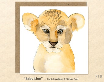 Baby Lion Note Card Baby Animal Card Cute Lion Card Cute Animal Card Baby Gift Cute Baby Animals Blank Note Card Art Card Greeting Card