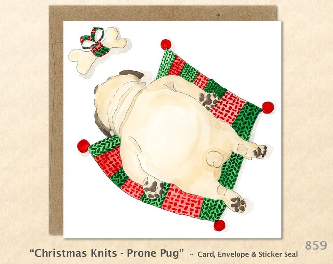 Pug on a Christmas Blanket Eyeing His Present Christmas Card Card Blank Note Card Art Card Greeting Card Watercolor Card Holiday Card