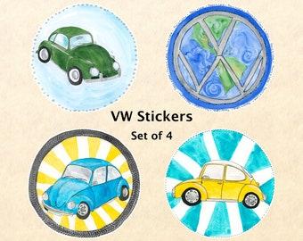 VW Stickers - Set of 4, VW Bug, Car Stickers, Volkswagen Stickers, Water Bottle Stickers, Scrapbook Stickers, Macbook Decal