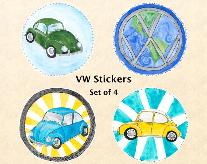 VW Stickers - Set of 4, VW Bug, Car Stickers, Volkswagen Stickers, Water Bottle Stickers, Scrapbook Stickers, Macbook Decal