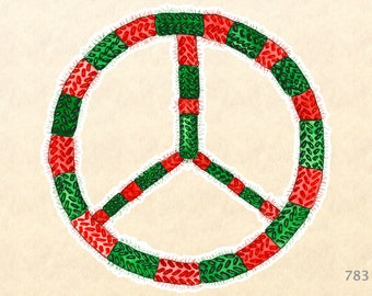 Christmas Peace Sign Sticker  in a Fuzzy Red and Green Sweater Gift Wrapping Sticker Scrapbook Stickers Watercolor Art Sticker