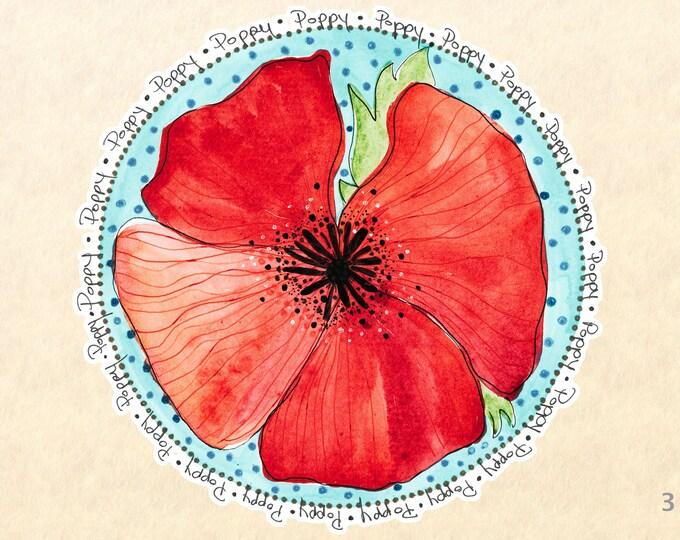 Red Poppy Sticker, Flower Stickers, Floral Stickers, Garden Stickers, Decorative Stickers, Water Bottle Stickers, Scrapbooking Stickers