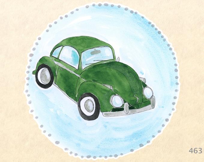 VW Stickers, Green VW, Car Stickers, VW Bug Sticker, Volkswagen Stickers, Fun Car Stickers, Water Bottle Stickers, Scrapbook Stickers