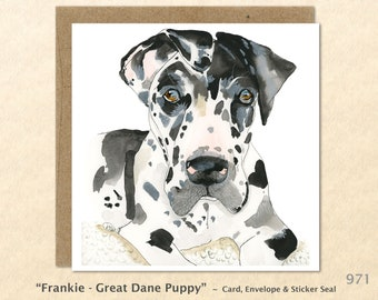 Great Dane Puppy Note Card  Dog Note Card Customizable Blank Note Card Watercolor Art Greeting Card