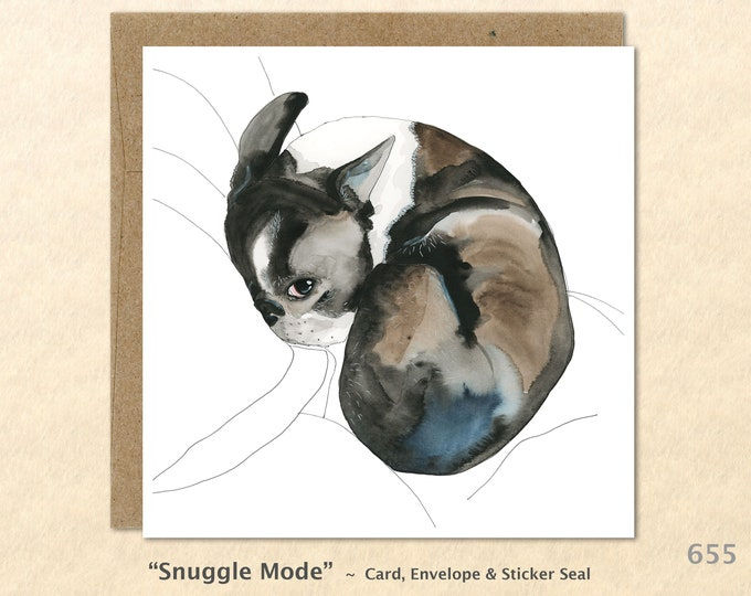 Dog Card Boston Terrier Card Cute Dog Card Blank Note Card Art Card Greeting Card