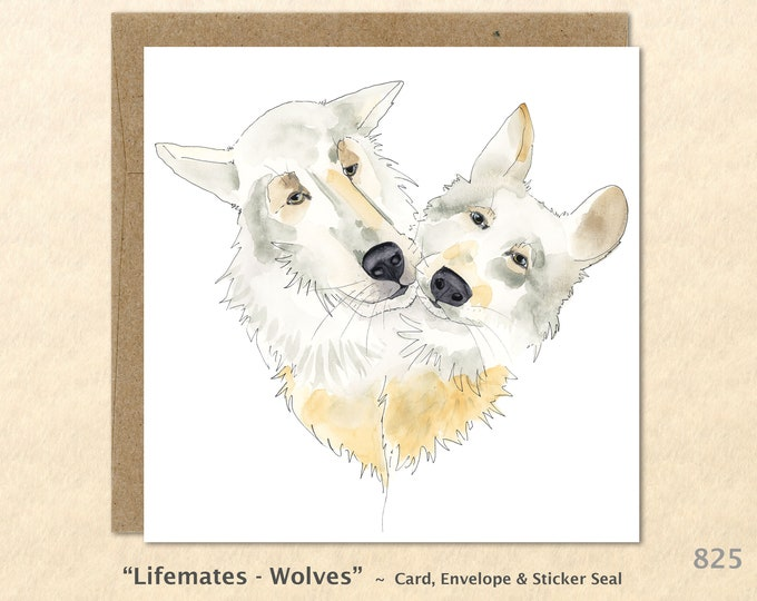 Wolf Card Family Card Love Card Wildlife Card Marriage Card Lifemates Relationship Card Friendship Blank Note Card Art Card Greeting Card