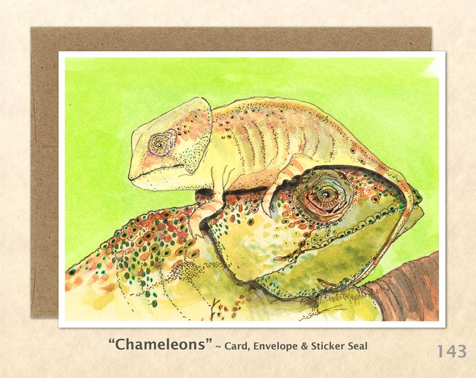 Chameleon  Note Card, Lizard Cards, Blank Note Card, Wildlife Note Card, Art Cards, Greeting Cards