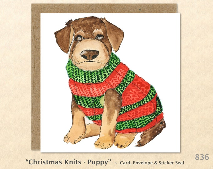 Puppy Dog in a Christmas Sweater Christmas Card Card Blank Note Card Art Card Greeting Card Watercolor Card Holiday Card