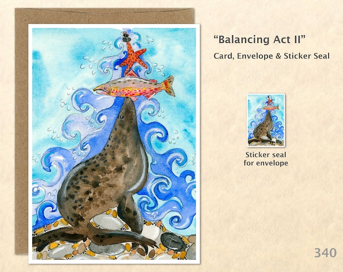 Sea Lion, Fish and Starfish Note Card, Blank Note Card, Art Cards, Greeting Cards