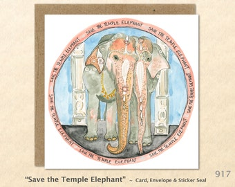 Save the Temple Elephant Note Card Endangered Animals Watercolor Art Blank Note Card Art Customizable Greeting Card