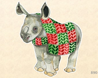 Baby Rhino Dressed for Christmas Sticker Gift Wrapping Sticker Laptop Stickers Water Bottle Stickers Scrapbook Stickers