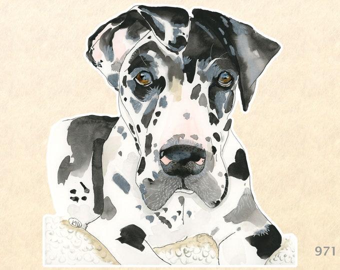 Great Dane Puppy Sticker Cute Dog Sticker Watercolor Art Water Bottle Sticker Scrapbook Sticker iPhone Android Macbook Decal