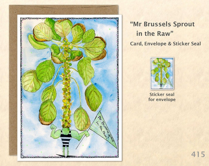 Wacky Muscle Man Brussels Sprout Note Card, Food Cards, Garden Cards, Fun Cards, Blank Note Card, Art Cards, Greeting Cards