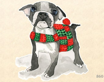 Boston Terrier Dressed for Christmas Sticker Dog Sticker Gift Wrapping Sticker Laptop Stickers Water Bottle Stickers Scrapbook Stickers