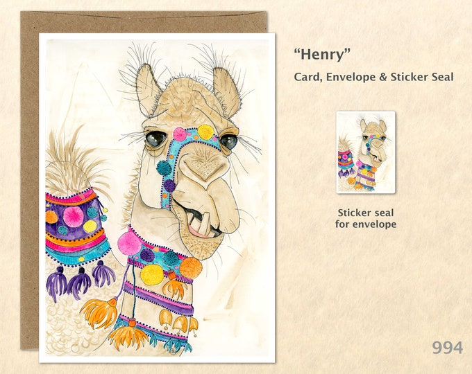 Camel Note Card Decorated Camel Customizable Blank Note Card Watercolor Art Greeting Card