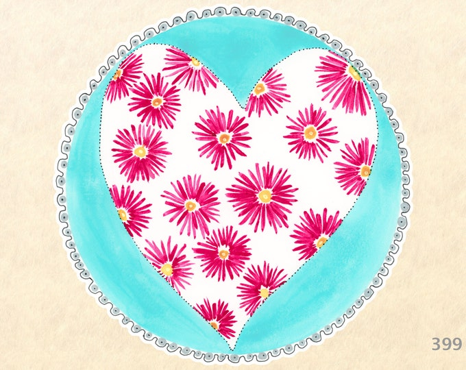 Heart and Flowers Mandala Sticker, Heart Stickers, Love Stickers, Valentine Stickers, Flower Stickers, Scrapbook Stickers