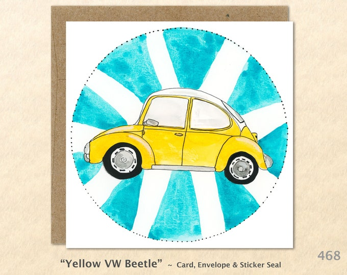 Yellow VW Bug, VW Cards, VW Beetle Cards, Volkswagen Cards, Car Cards, Note Cards, Blank Note Cards, Art Cards, Greeting Cards