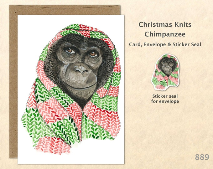 Christmas Card Chimpanzee Wrapped in a Christmas Shawl Holiday Note Card Blank Watercolor Card Art Card Note Card
