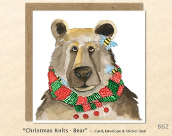 Christmas Bear Note Card Customizable Blank Note Card Watercolor Art Greeting Card Holiday Card