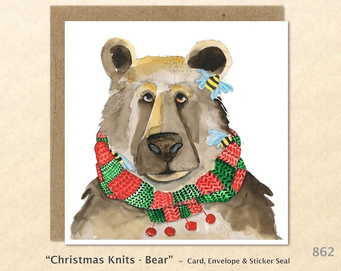 Christmas Card Bear in a Christmas Scarf Blank Note Card Art Card Greeting Card Watercolor Card Holiday Card
