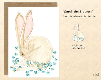 Hare and Flowers Note Card Rabbit and Blue Flowers Easter Bunny Card Customizable Blank Card Cute Cards Watercolor Art Greeting Card