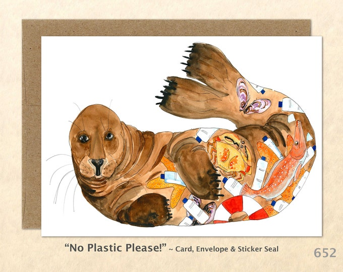 Eco Seal Note Card, Seal Cards, Eco Cards, Sea Life Cards, Blank Note Card, Art Cards, Greeting Cards
