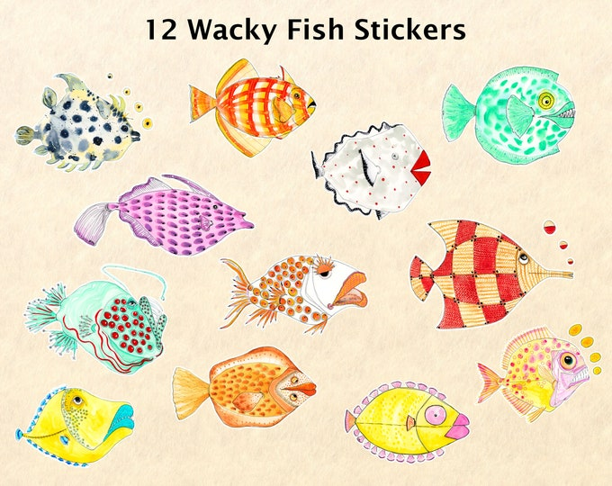 12 Wacky Fish Stickers, Fish Stickers, Fantasy Animal Stickers, Fun Animal Stickers, Water Bottle Stickers, Scrapbook Stickers