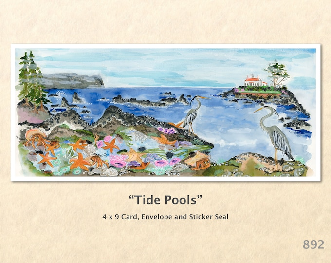 Tide Pools Note Card Beach Scene Seashore Blue Herons Lighthouse Blank Note Card Art Cards Greeting Cards Watercolor Art