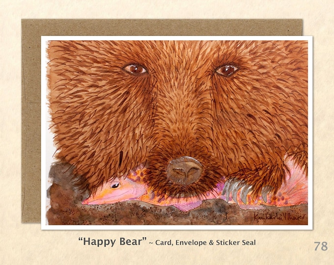 Bear with Salmon Note Card, Bear Cards, Blank Note Card, Wildlife Card, Art Cards, Greeting Cards