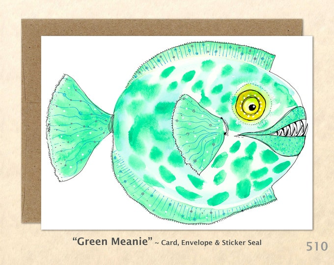 Fantasy Fish Note Card, Fish Cards, Blank Note Card, Art Cards, Greeting Cards