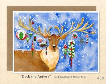 Reindeer Christmas Card Decorated Reindeer Xmas Blank Note Card Holiday Card Watercolor Art Card