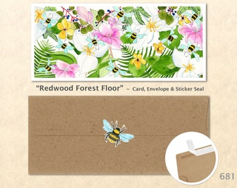 Redwood Forest Floor Card, Floral Cards, Flower Cards, Garden Cards, Flowers and Bees, Greeting Cards