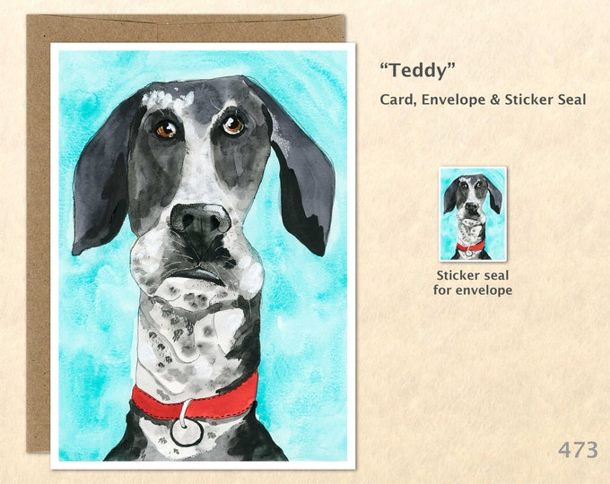 Goofy Dog Note Card, Dog Cards, Fun Animals, Wacky Cards, Blank Note Card, Art Cards, Greeting Cards