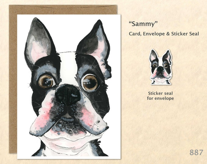 Boston Terrier Note Card, Dog Cards, Blank Note Card, Art Cards, Greeting Cards