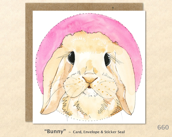Easter Bunny Note Card Rabbit Card Cust Baby Animals Customizable Blank Greeting Card Watercolor Art Card