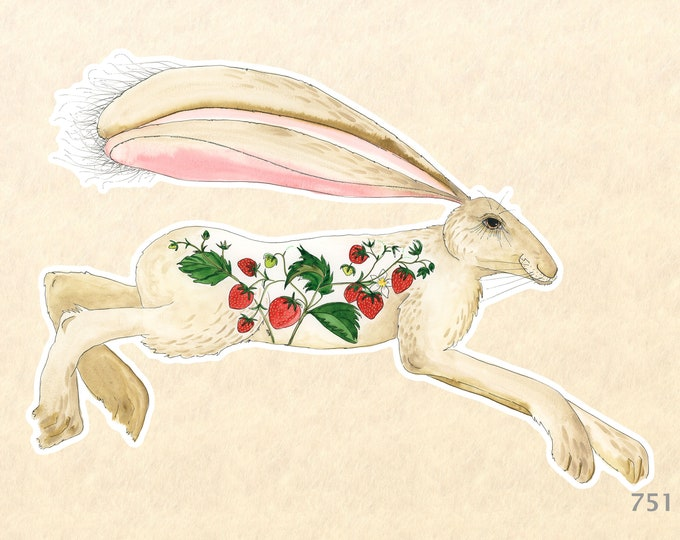 Hare and Strawberries Sticker Rabbit Sticker Bunny Sticker Decorative Stickers, Water Bottle Stickers, Scrapbooking Stickers, Macbook Decal