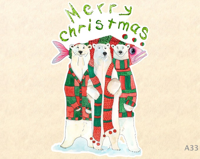 Merry Christmas Sticker 3 Polar Bears and a Fish Gift Wrapping Sticker Laptop Stickers Water Bottle Stickers Scrapbook Stickers Watercolor
