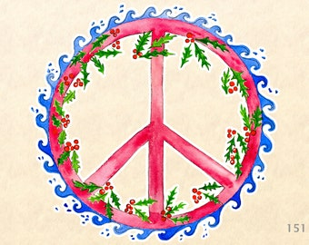 Peace Sign and Holly Christms Sticker Gift Wrapping Sticker Laptop Stickers Water Bottle Stickers Scrapbook Stickers