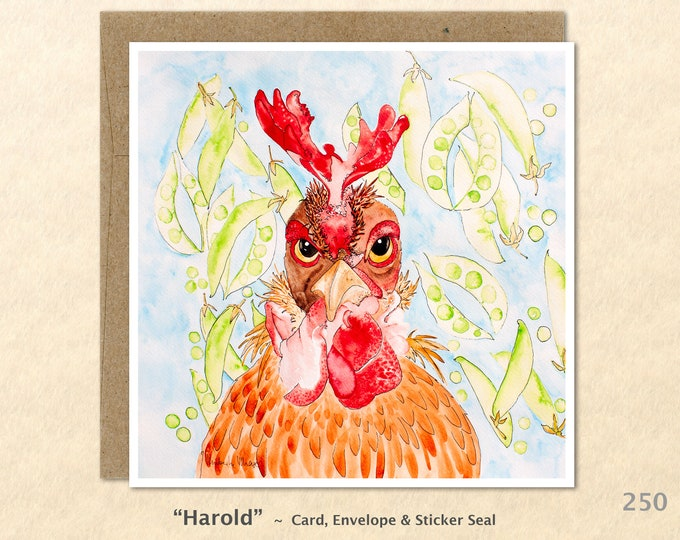 Wacky Rooster Note Card, Chicken Cards, Rooster Cards, Funny Cards, Farm Animal Cards, Blank Note Card, Art Cards, Greeting Cards